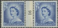 NZ Counter Coil Pair SG 728 1953 4d Queen Elizabeth II Join No. 16 (NCC/196)
